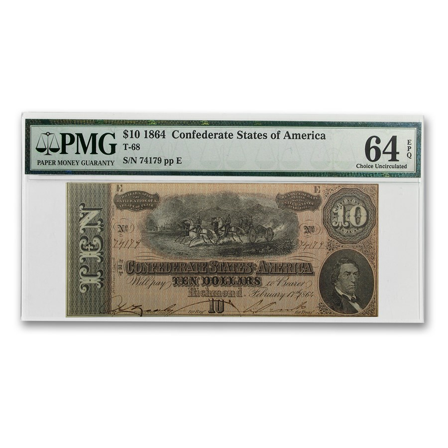 1864 CSA $10 (T-68) Horses Pull Cannon CU-64 EPQ PMG