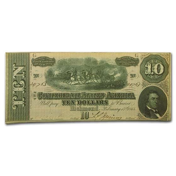 1864 CSA $10 (T-68) Horses Pull Cannon CU