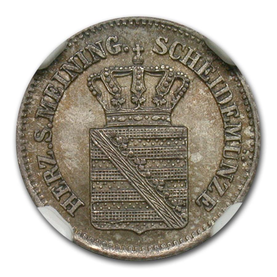 1864 Germany Saxe-Meiningen Silver Kruezer MS-65 NGC