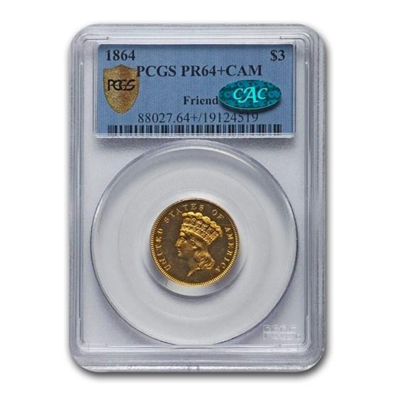 1864 Gold $3 Princess PR-64+ Cameo PCGS CAC