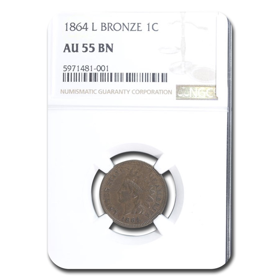 1864 Indian Head Cent AU-55 NGC (L On Ribbon)