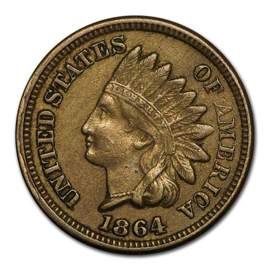 1864 Indian Head Cent Copper-Nickel AU