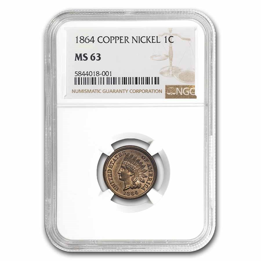 1864 Indian Head Cent Copper Nickel MS-63 NGC
