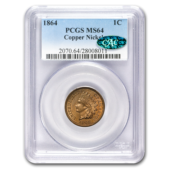 1864 Indian Head Cent Copper-Nickel MS-64 PCGS CAC