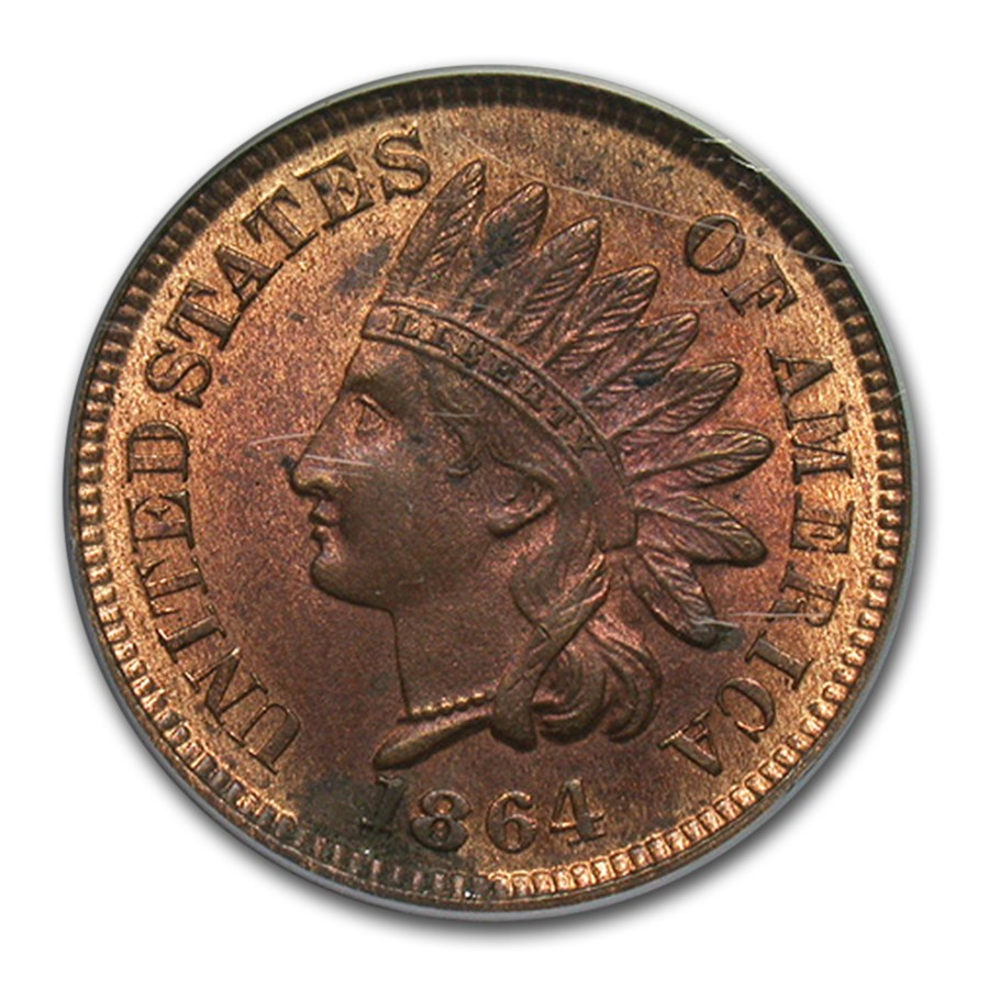 1864 Indian Head Cent MS-62 PCGS (Red/Brown, Bronze)
