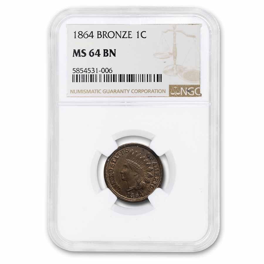 1864 Indian Head Cent MS-64 NGC (Bronze, Brown)
