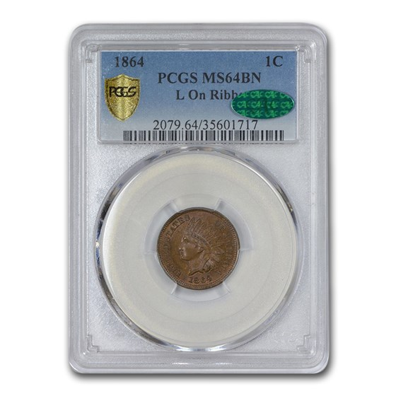 1864 Indian Head Cent MS-64 PCGS CAC (Brown, L On Ribbon)