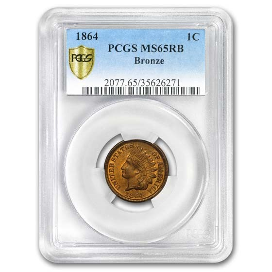 1864 Indian Head Cent MS-65 PCGS (Red/Brown, Bronze)