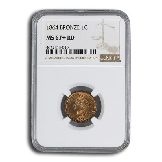 1864 Indian Head Cent MS-67+ NGC (Red, Bronze)