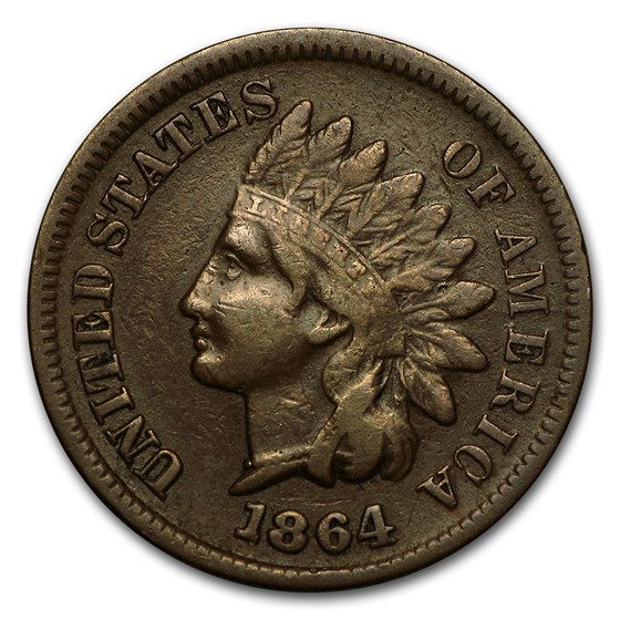 1864 Indian Head Cent VF (L on Ribbon)