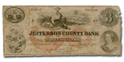 1864 Jefferson County Bk, Watertown, NY $3 NY-15 VG Counterfeit