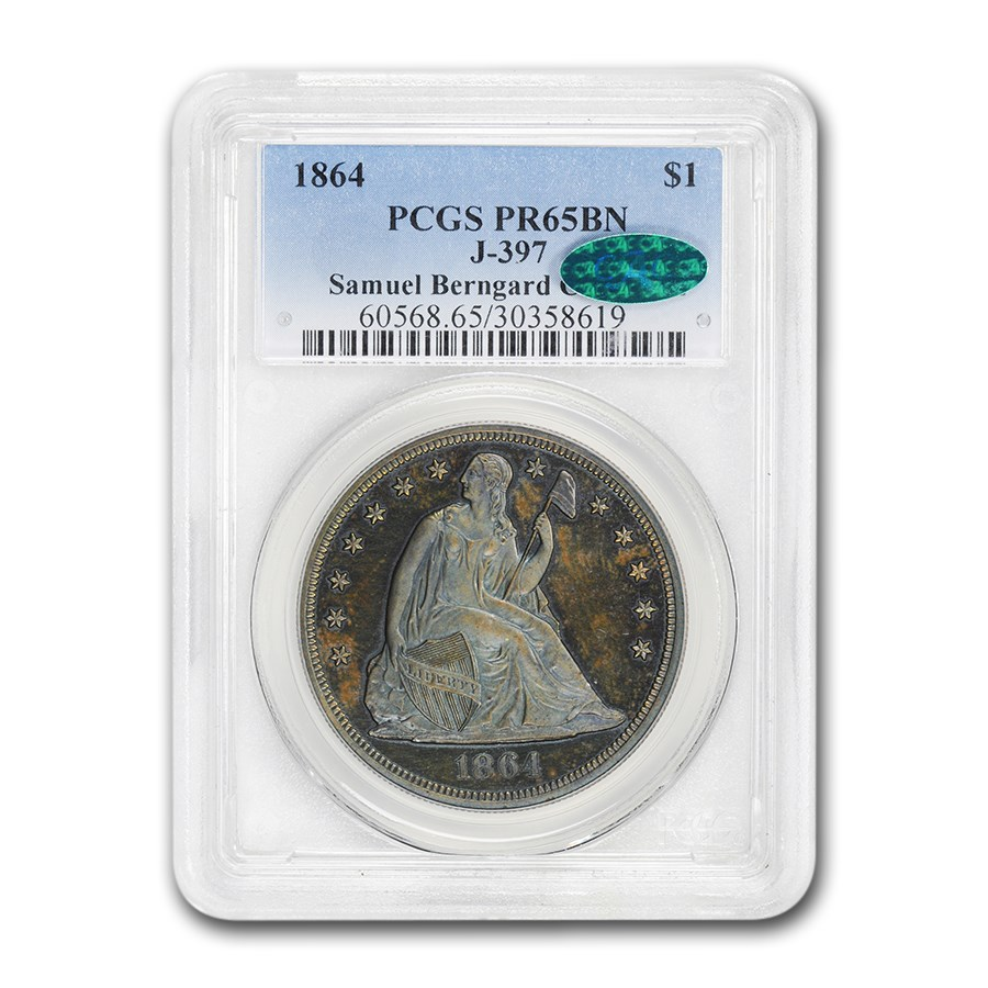 1864 Liberty Seated Dollar PR-65 Brown PCGS CAC (Pattern J-397)