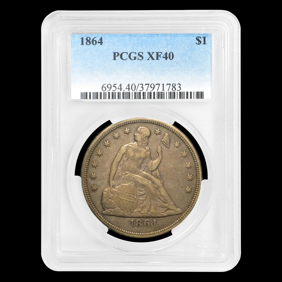 1864 Liberty Seated Dollar XF-40 PCGS