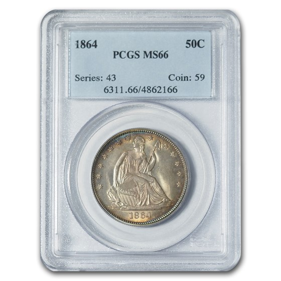1864 Liberty Seated Half Dollar MS-66 PCGS