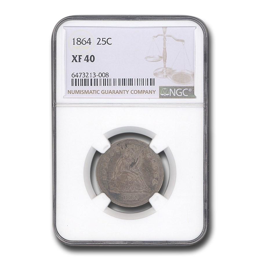 1864 Liberty Seated Quarter XF-40 NGC