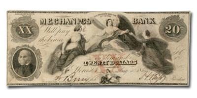1864 Mechanics Bank, Worcester, MA $20 MA-1320 VF COUNTERFEIT