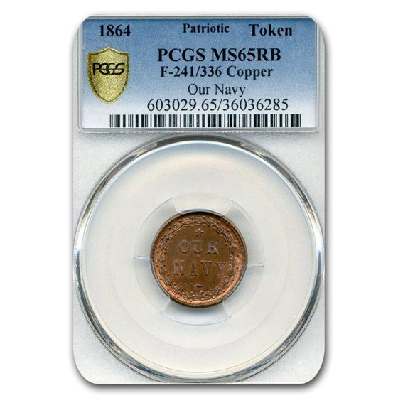 1864 Patriotic Token - Our Navy MS-65 PCGS (Red/Brown)