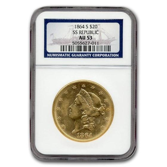 1864-S $20 Liberty Gold Double Eagle AU-53 NGC (SS Republic)