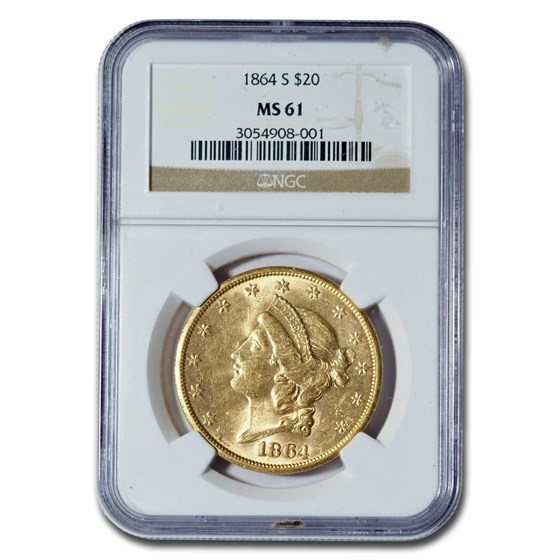 1864-S $20 Liberty Gold Double Eagle MS-61 NGC