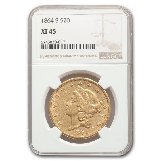 1864-S $20 Liberty Gold Double Eagle XF-45 NGC