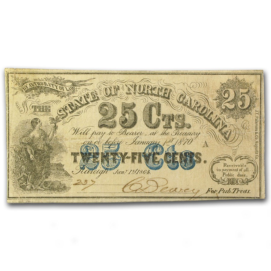1864 The State of North Carolina 25 Cents Cr#150 EF