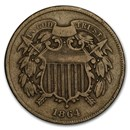 1864 Two Cent Piece Large Motto Fine