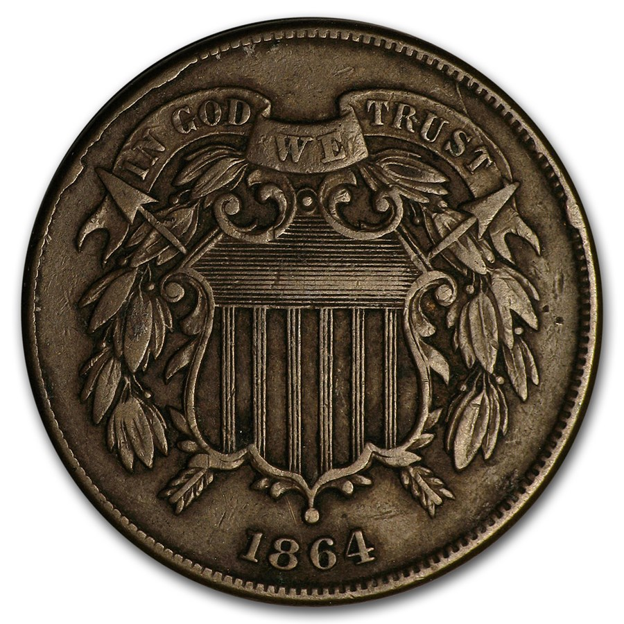 1864 Two Cent Piece Large Motto VF