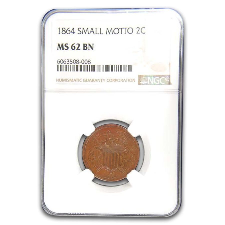 1864 Two Cent Piece MS-62 NGC (Brown, Small Motto)