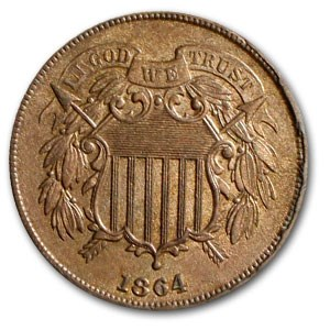 1864 Two Cent Piece MS-63 (Red/Brown)
