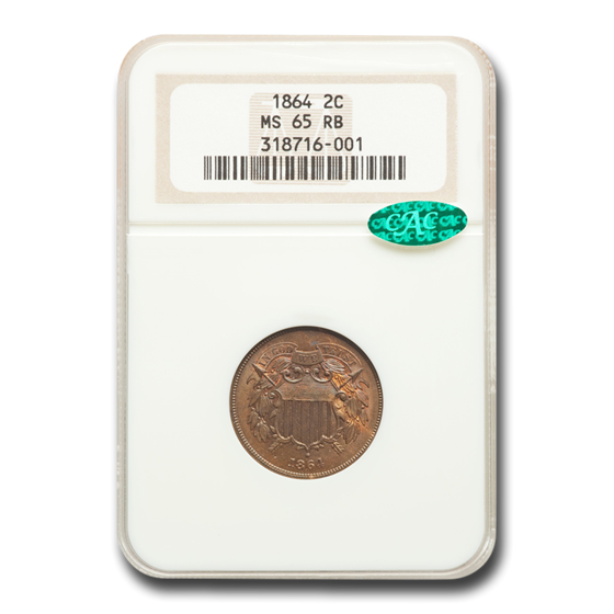 1864 Two Cent Piece MS-65 NGC CAC (Red/Brown)