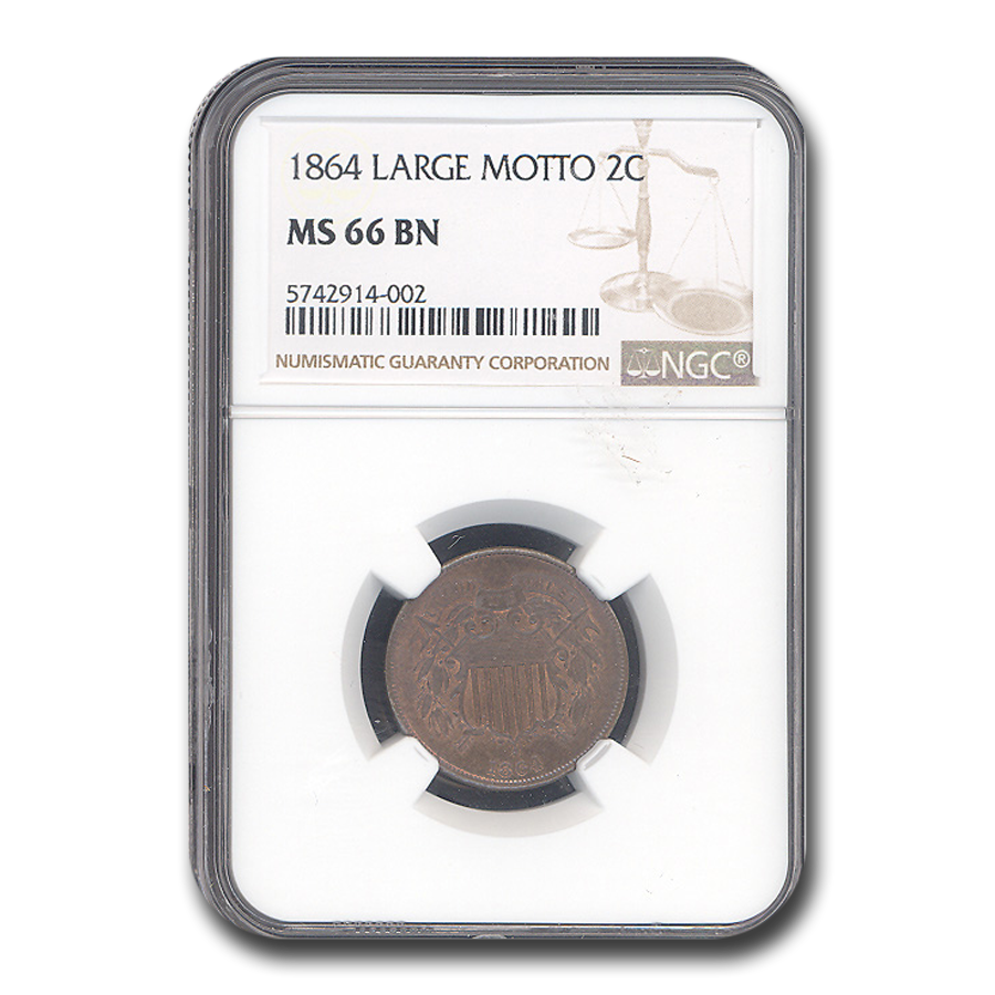 1864 Two Cent Piece MS-66 NGC (Brown, Large Motto)