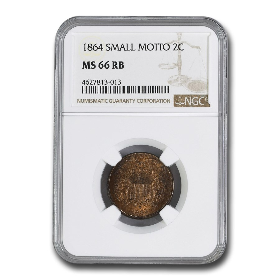 1864 Two Cent Piece MS-66 NGC (Red/Brown, Small Motto)