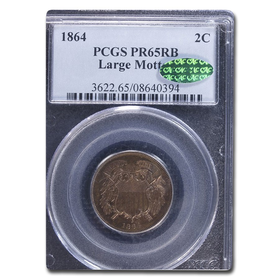 1864 Two Cent Piece PR-65 PCGS CAC (Red/Brown, Large Motto)