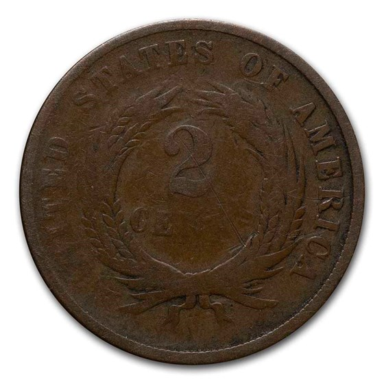1864 Two Cent Piece Small Motto Good