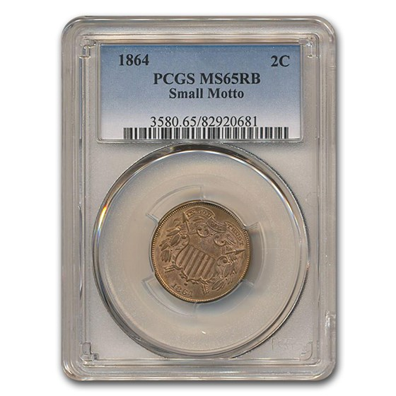 1864 Two Cent Piece Small Motto MS-65 PCGS (Red/Brown)