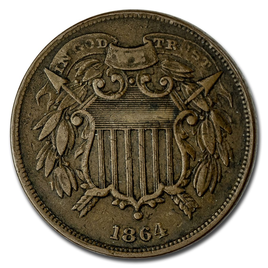 1864 Two Cent Piece Small Motto VF