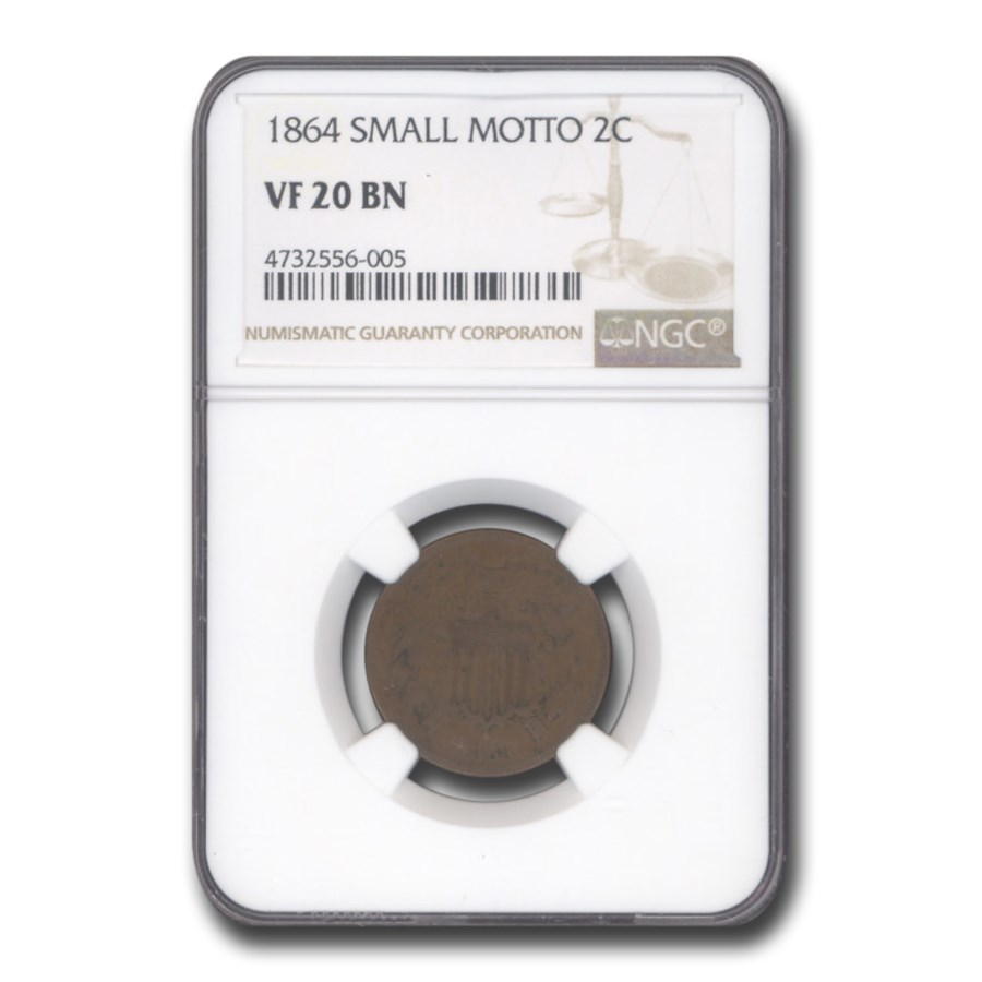 1864 Two Cent Piece VF-20 NGC (Brown, Small Motto)