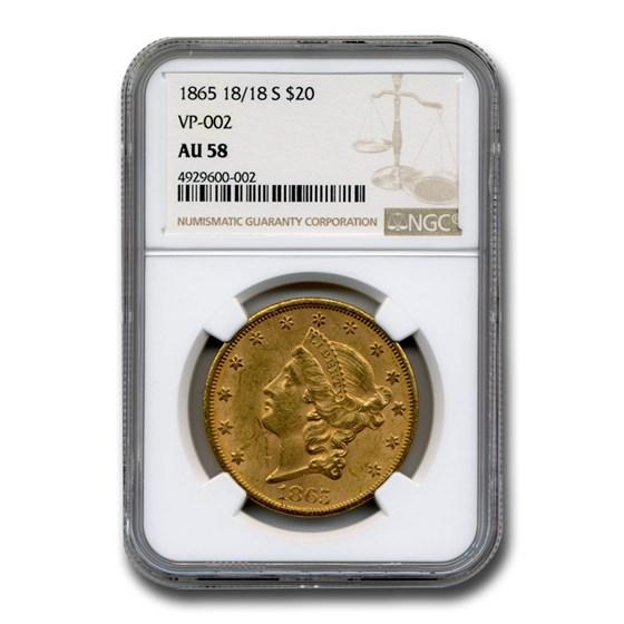 1865 18/18-S $20 Liberty Gold Double Eagle AU-58 NGC (VP-002)