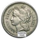 1865-1889 3 Cent Nickels Avg Circ
