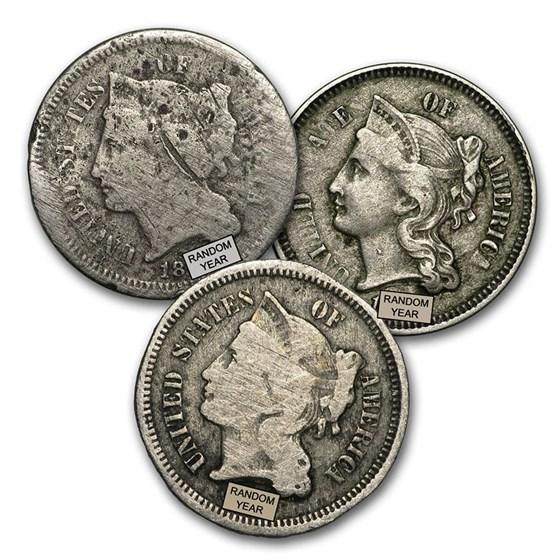 1865-1889 3 Cent Nickels Culls