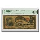 "1865 $2.00 ""Lazy Deuce"" Kankakee, IL VF-30 PMG (CH#1793, S/N # 1)"