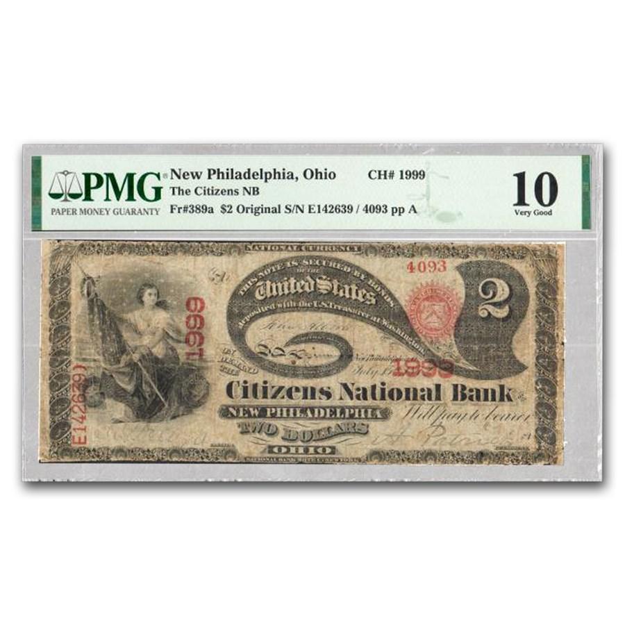 1865 $2.00 New Philadelphia, OH VG-10 PMG (Fr#389A) CH#1999
