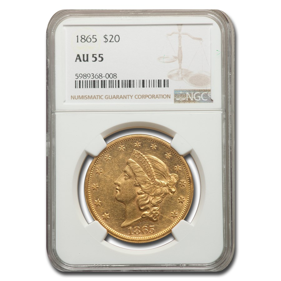 1865 $20 Liberty Gold Double Eagle AU-55 NGC
