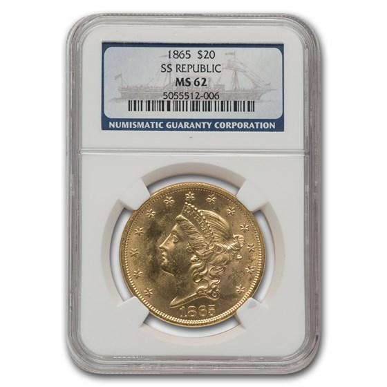 1865 $20 Liberty Gold Double Eagle MS-62 NGC (SS Republic)