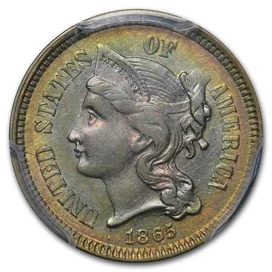 1865 3 Cent Nickel AU-58 PCGS (Beautifully Toned)