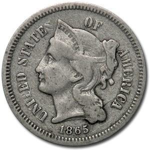 1865 3 Cent Nickel Fine