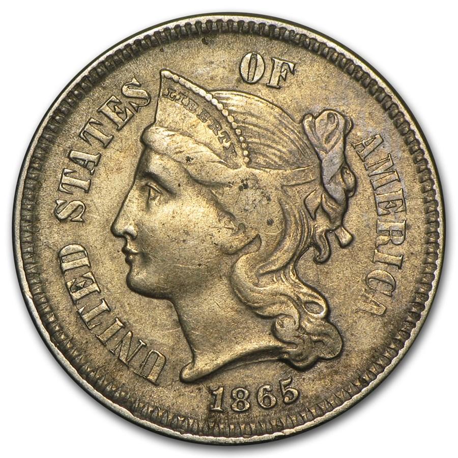 1865 3 Cent Nickel VF