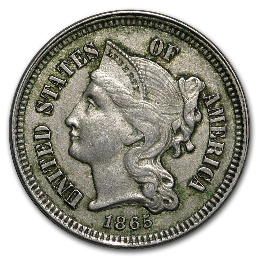 1865 3 Cent Nickel XF