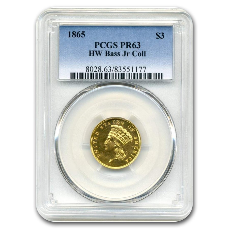 1865 $3 Gold Princess PR-63 PCGS