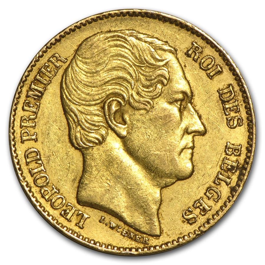 1865 Belgium Gold 20 Francs Leopold I Avg Circ